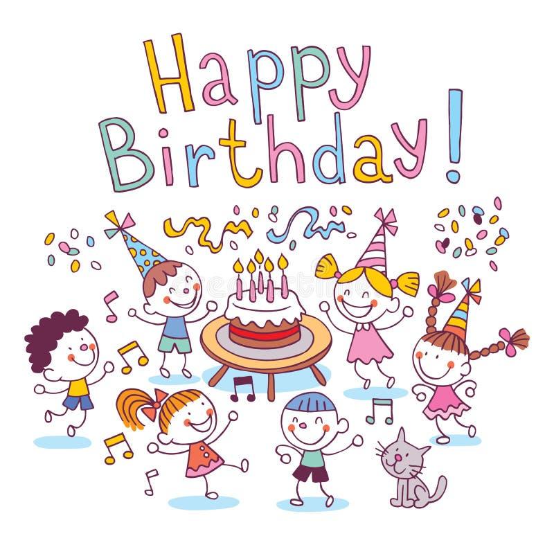 urodzinowi szczęśliwi dzieciaki ilustracji