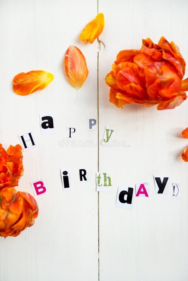 urodzinowi szczęśliwi listy fotografia stock