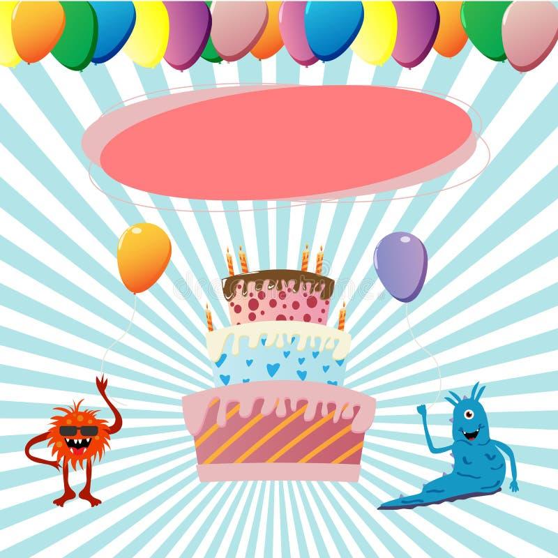 urodzinowi szczęśliwi potwory ilustracja wektor