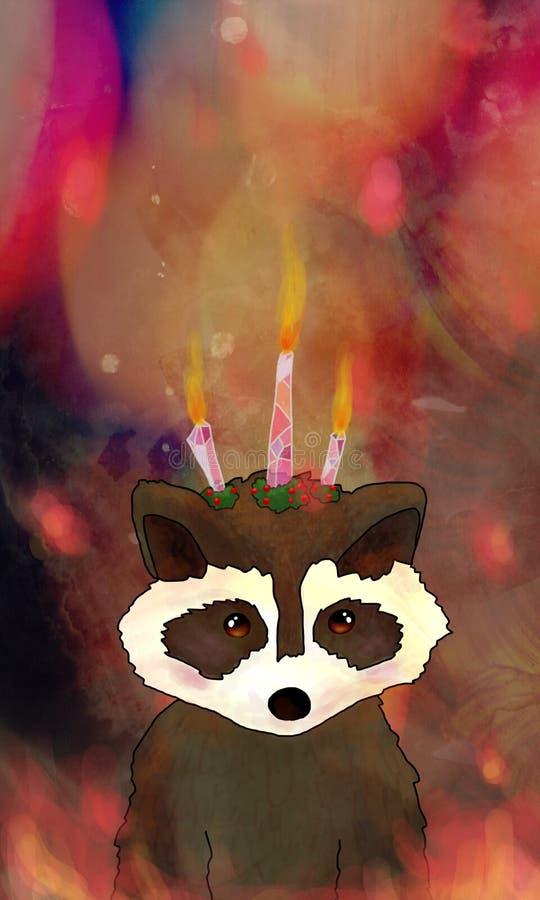 Urodzinowy świeczki szop pracz fotografia stock