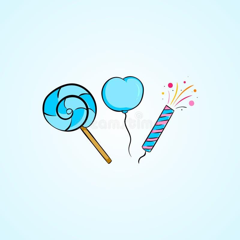 Urodzinowy ballon i cukierek kolekci ustalona ilustracja ilustracja wektor