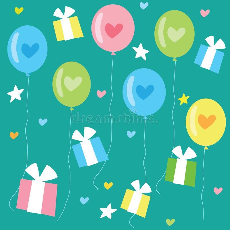 Urodzinowy Bezszwowy wzór Z balonami, sercami I prezentami koloru, ilustracja wektor