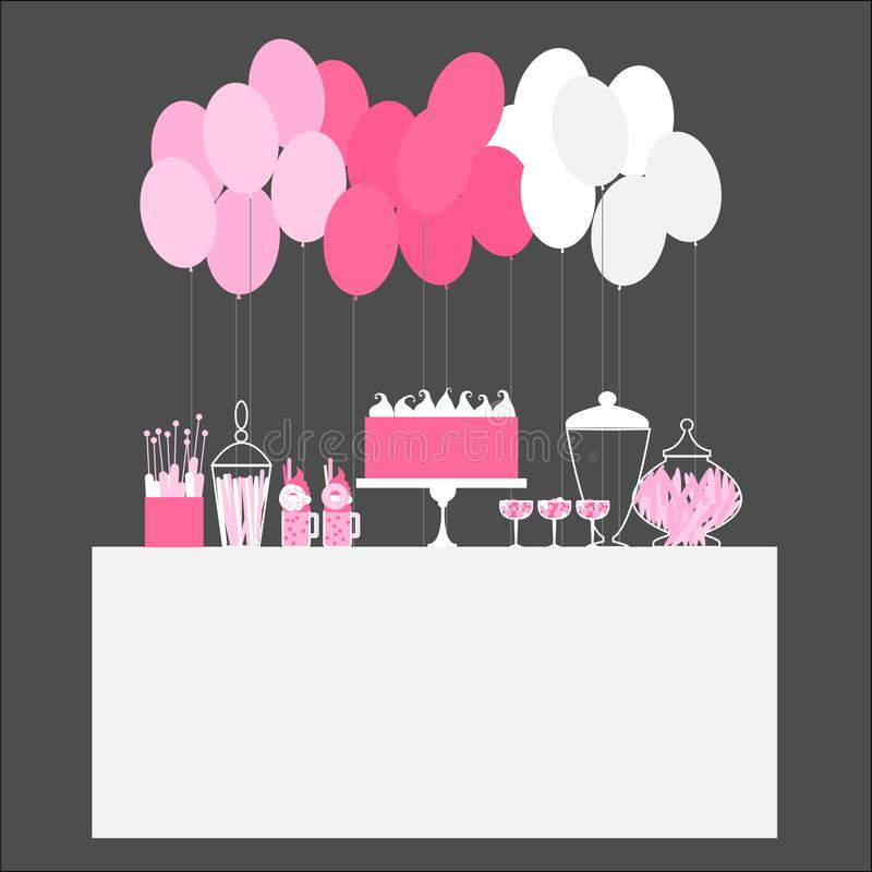 Urodzinowy cukierku bufet z balonami royalty ilustracja