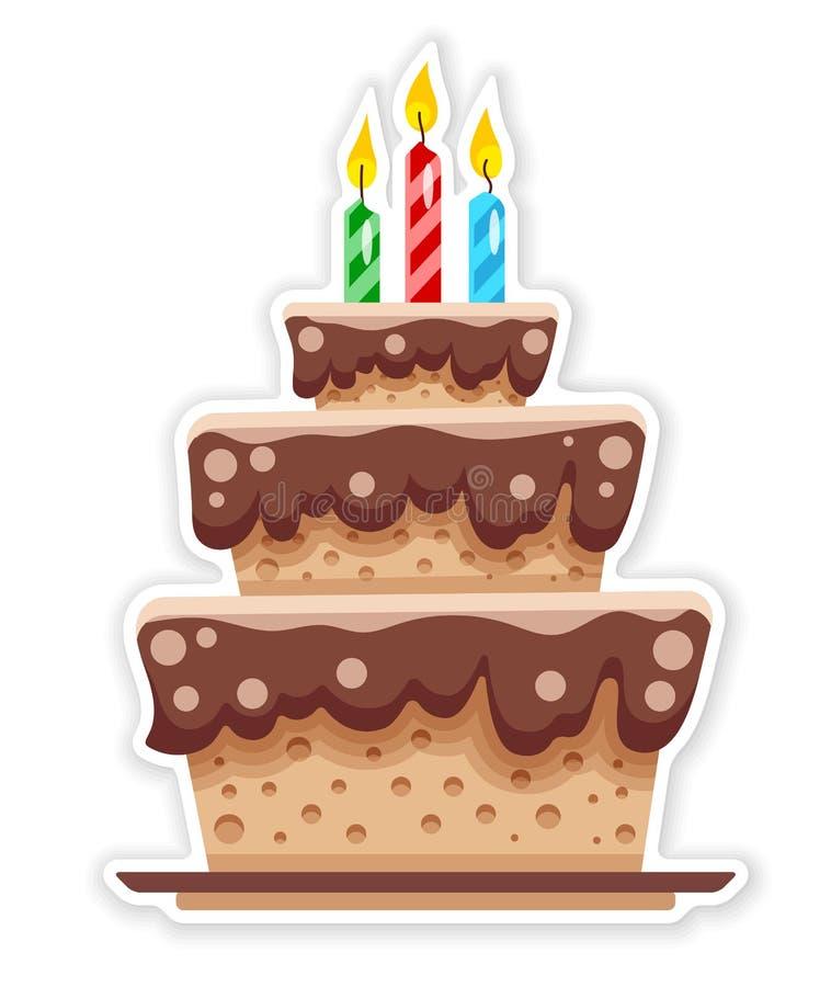 Urodzinowy czekoladowy tort z świeczkami P?aski majcher r?wnie? zwr?ci? corel ilustracji wektora ilustracja wektor