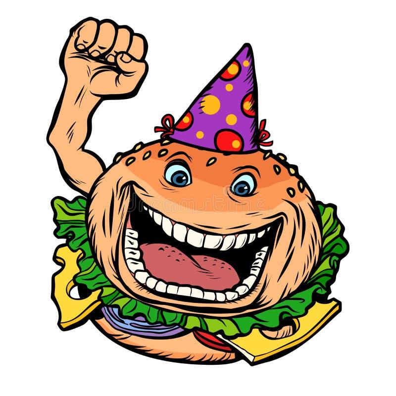 Urodzinowy fasta food hamburger ilustracja wektor