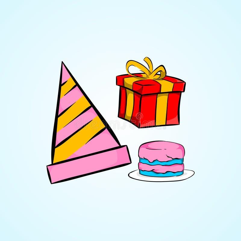Urodzinowy inkasowy ustalony ilustracyjny prosty styl royalty ilustracja