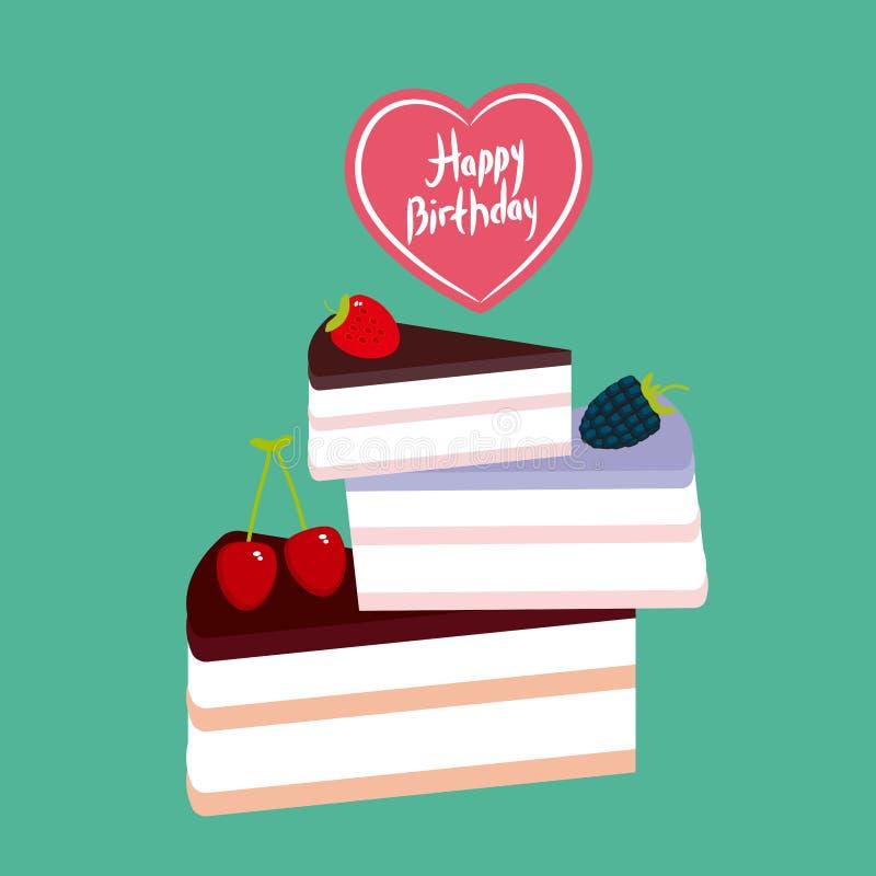 Urodzinowy Karcianego projekta cukierki tort dekorujący z świeżą jagodą, różową śmietanką i czekolady lodowaceniem, kawałek tort, ilustracji