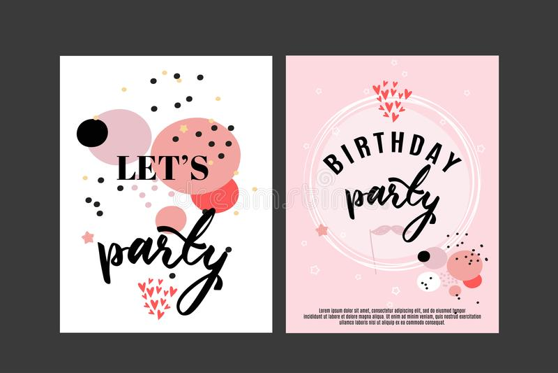 Urodzinowy kartka z pozdrowieniami i przyjęcia zaproszenia szablon, set wektorowe ilustracje, ręka rysujący styl ilustracji
