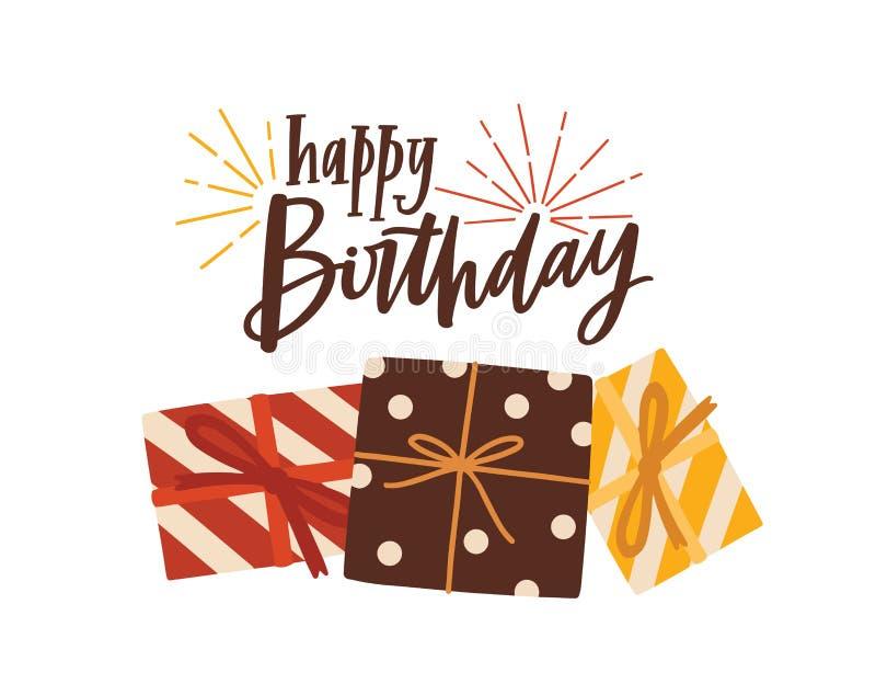 Urodzinowy kartki z pozdrowieniami, pocztówki szablon z świątecznym życzeniem ręcznie pisany z lub ilustracji
