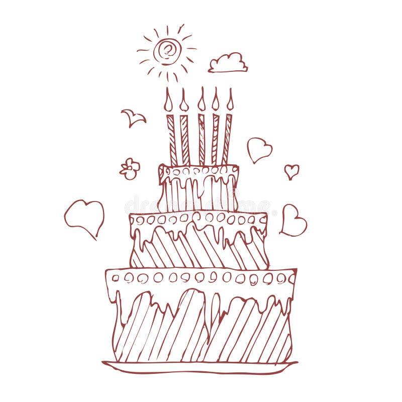 urodzinowy kulebiak ilustracja wektor