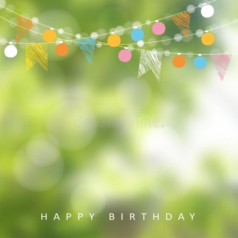 Urodzinowy ogrodowy przyjęcie lub brazylijczyka Czerwiec przyjęcie, ilustracja z girlandą światła, partyjne flaga, zamazany tło ilustracja wektor