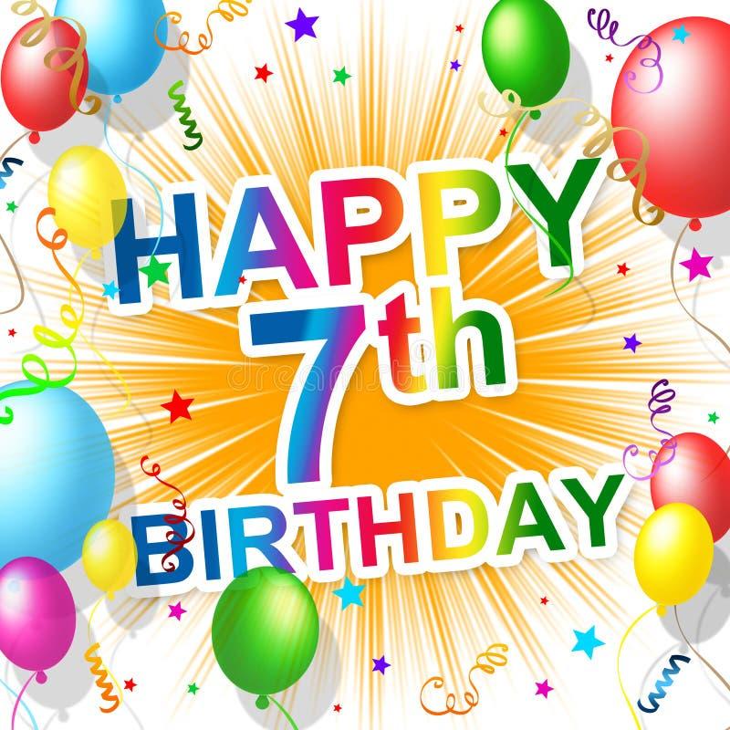 Urodzinowy siódmy Reprezentuje szczęście 7 I świętowanie royalty ilustracja