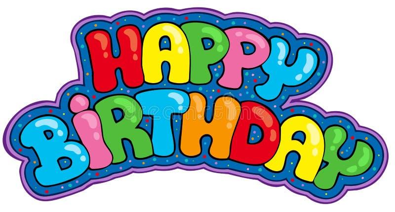 urodzinowy szczęśliwy znak ilustracja wektor