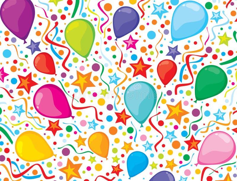 Urodzinowy tło z partyjnymi streamers i confe royalty ilustracja