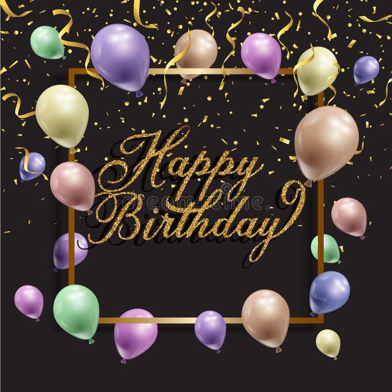 Urodzinowy t?o z balonami i confetti royalty ilustracja