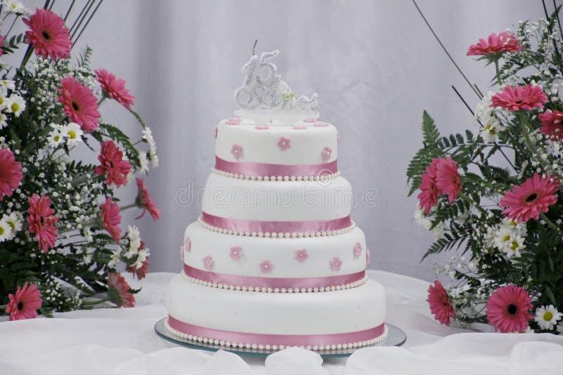 Urodzinowy tort piętnaście rok zdjęcia royalty free