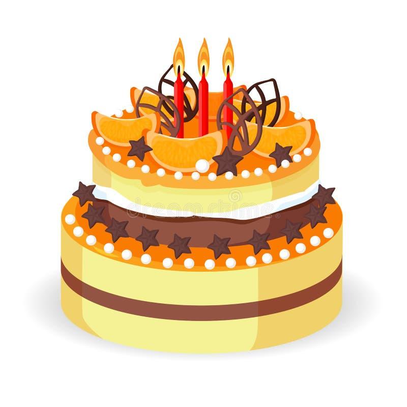 Urodzinowy tort z świeżymi czerwonymi jagodami, truskawkami i carambola wektorem, ilustracji