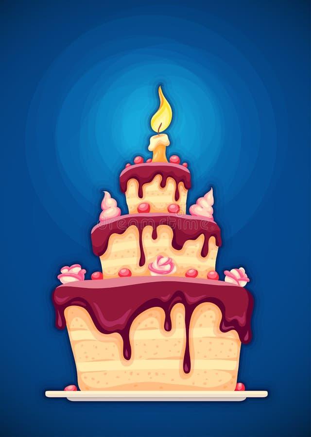 Urodzinowy tort z świeczki i czekolady śmietanką royalty ilustracja