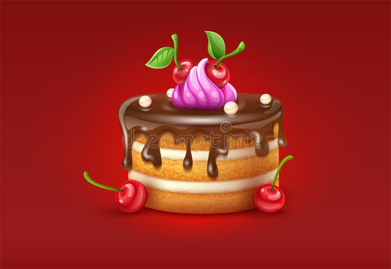 Urodzinowy tort z chocolare creme wektorowymi wiśniami i ilustracja ilustracja wektor