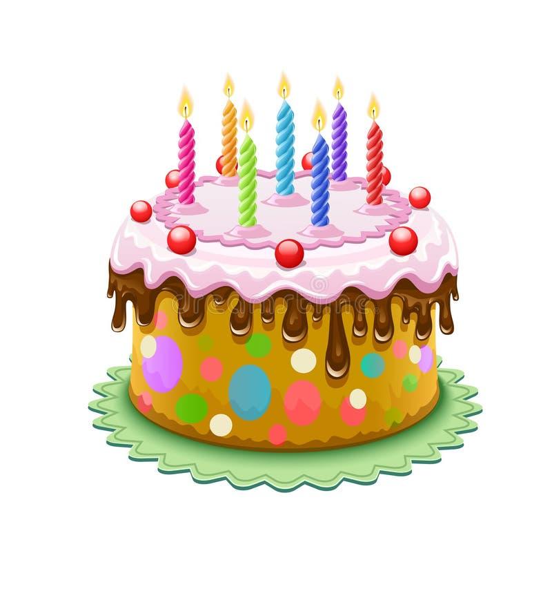 Urodzinowy tort z płonącymi świeczkami royalty ilustracja