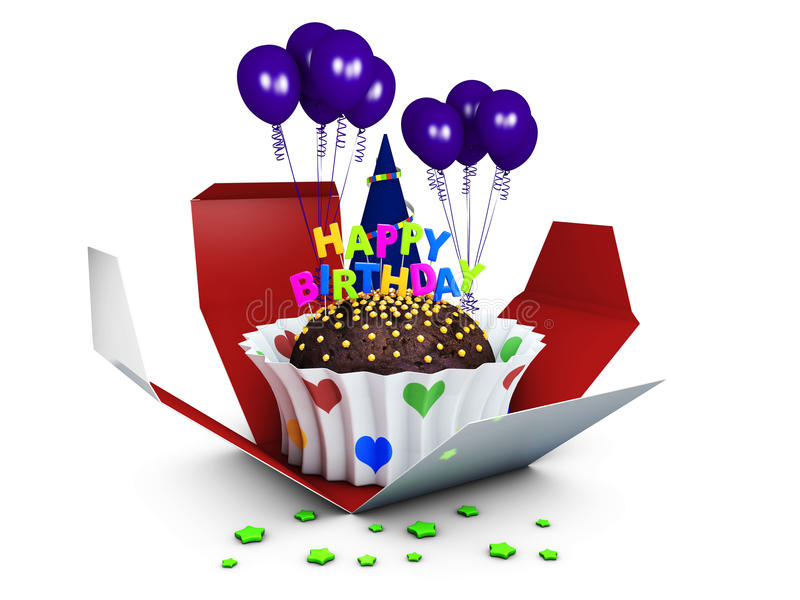 Urodzinowy tort z czekoladowym creme z balonami ilustracja 3 d ilustracji