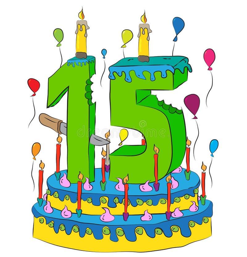 Urodzinowy tort Z liczbą Piętnaście świeczek, Świętuje Fifteenth rok życie, Kolorowych balony i Czekoladowego narzut, ilustracji