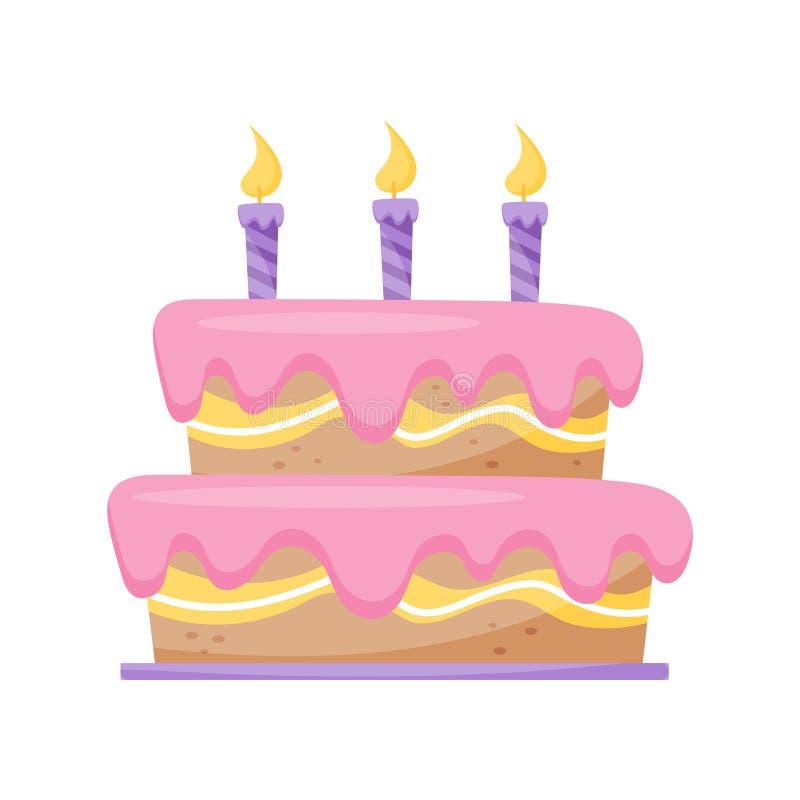 Urodzinowy tort z płonących świeczek wektorową ilustracją na białym tle royalty ilustracja
