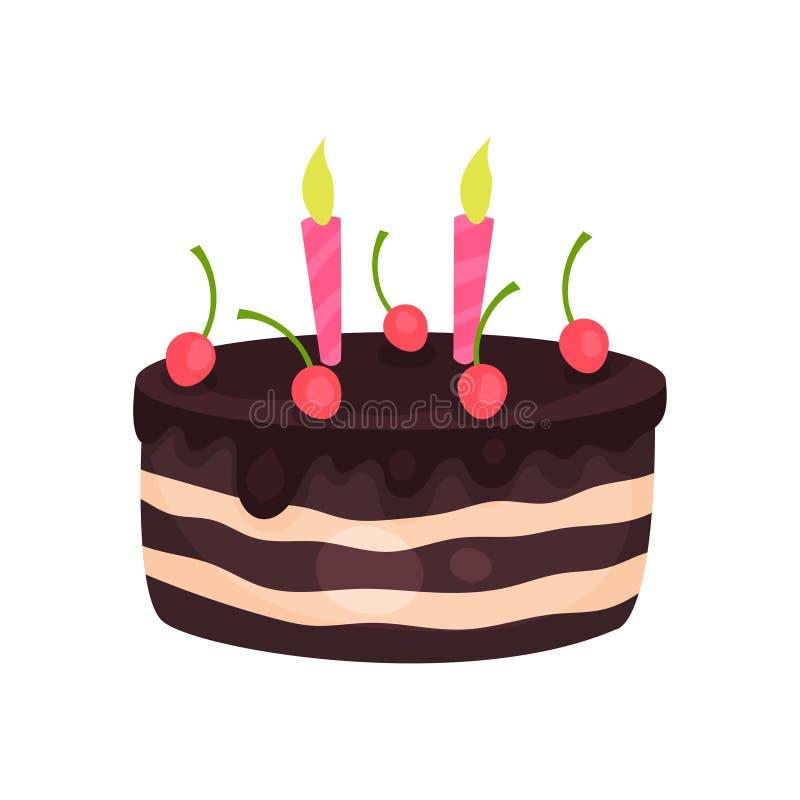 Urodzinowy tort z trzy płonącymi świeczkami i czerwonymi wiśniami Smakowity czekoladowy deser Kreskówka płaski wektorowy projekt  ilustracji