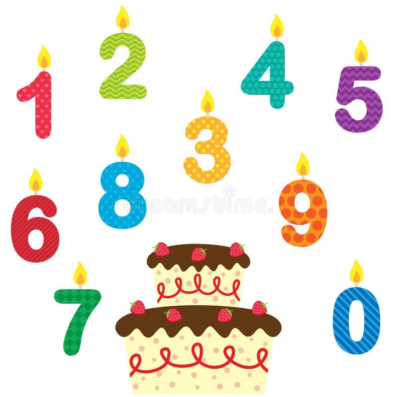 Urodzinowy wektorowy ustawiający świeczki i tort ilustracja wektor