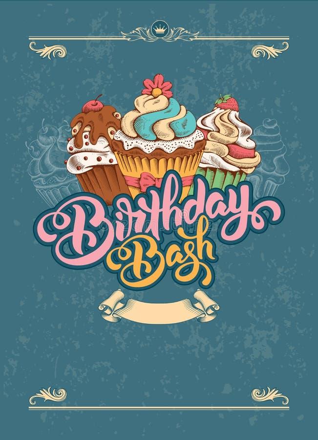 Urodzinowy zaproszenie ilustracja wektor