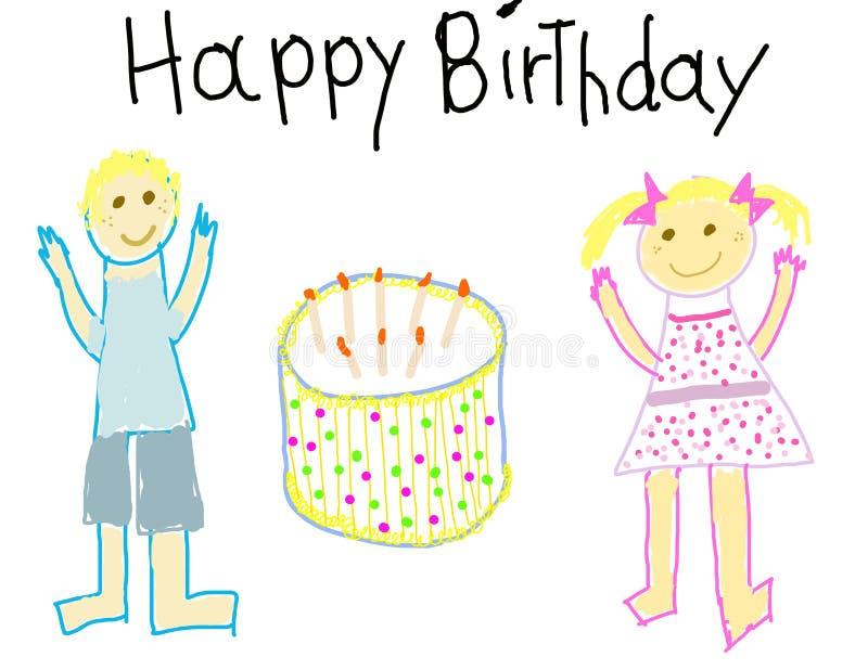 urodzinowy zwrócić szczęśliwy jak dziecko ilustracja wektor