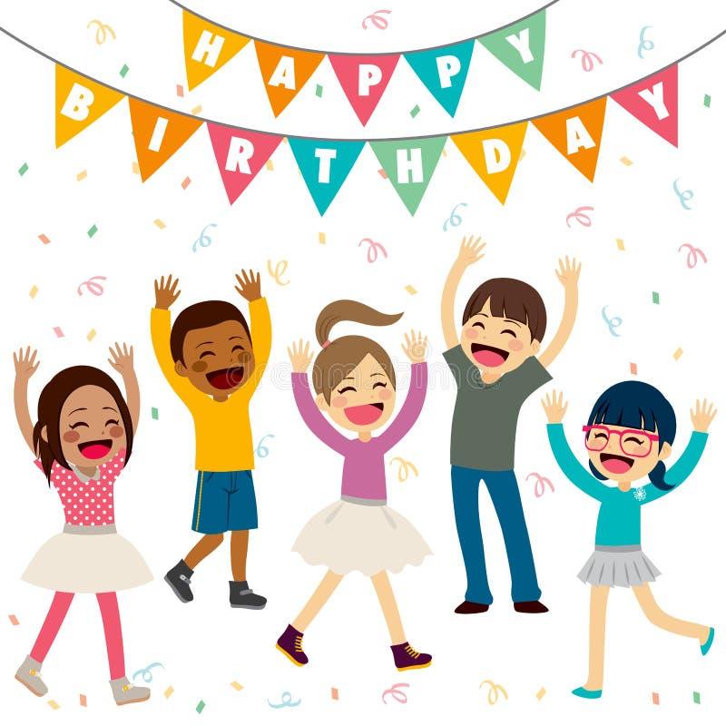 urodzinowych dzieci szczęśliwy salowy przyjęcie royalty ilustracja