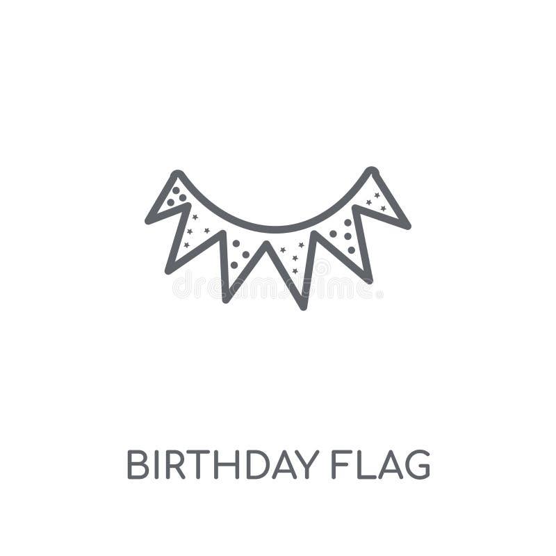 Urodziny Chorągwiana liniowa ikona Nowożytny konturu urodziny flagi logo przeciw royalty ilustracja
