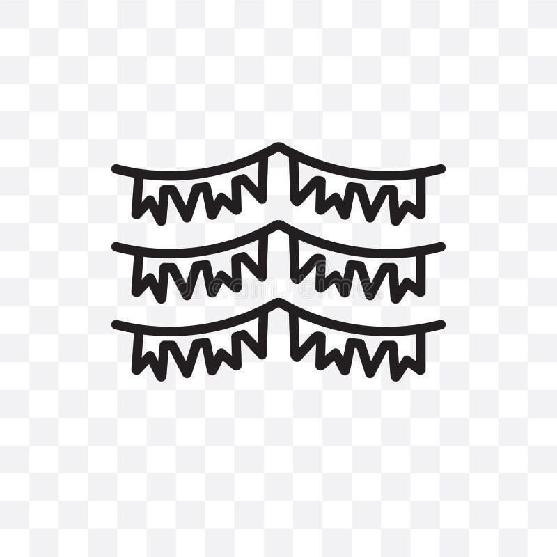 Urodziny Chorągwiana wektorowa liniowa ikona odizolowywająca na przejrzystym tle, urodziny przezroczystości Chorągwiany pojęcie m ilustracja wektor