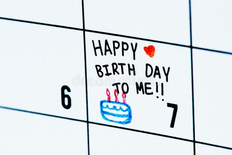 Urodziny kalendarzowego przypomnienia odosobniona notatka zdjęcia royalty free