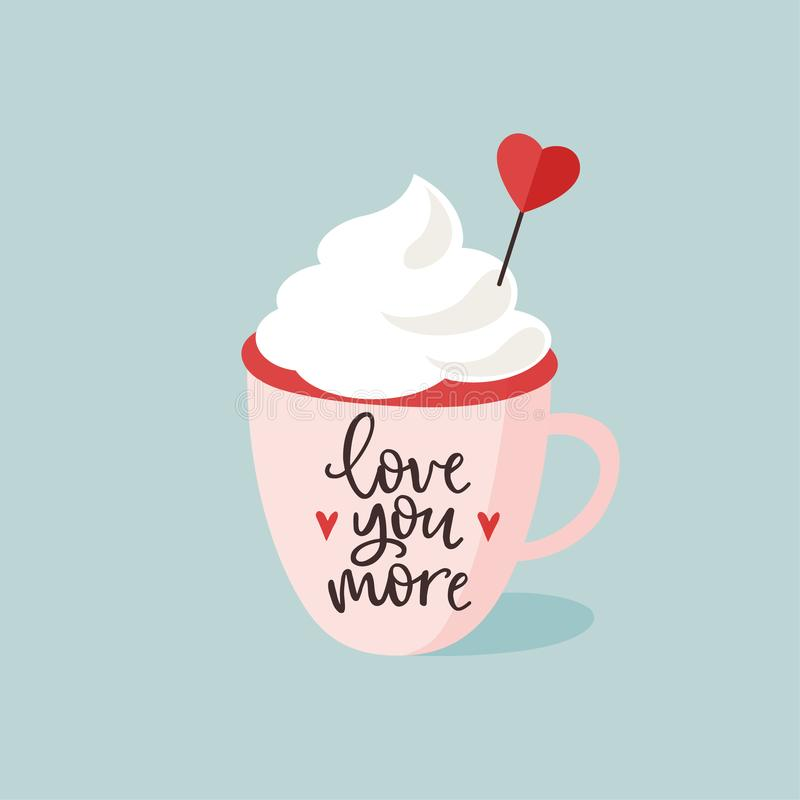 Urodziny lub walentynka dnia kartka z pozdrowieniami, zaproszenie Filiżanka gorąca czekolada lub kawa z sercem śmietanki i papier royalty ilustracja