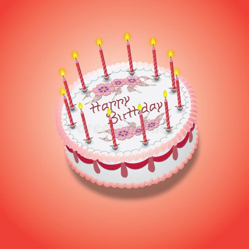 Urodziny menchii tort royalty ilustracja