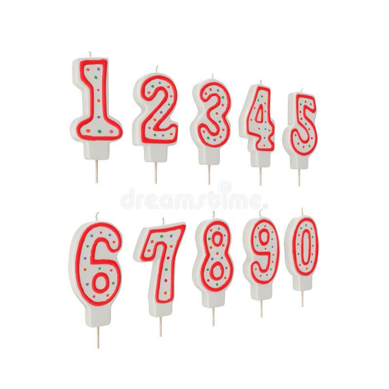 Urodziny Numerowe świeczki Ustawiać na bielu ilustracja 3 d ilustracji