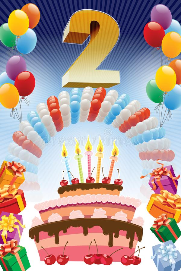urodziny po drugie royalty ilustracja