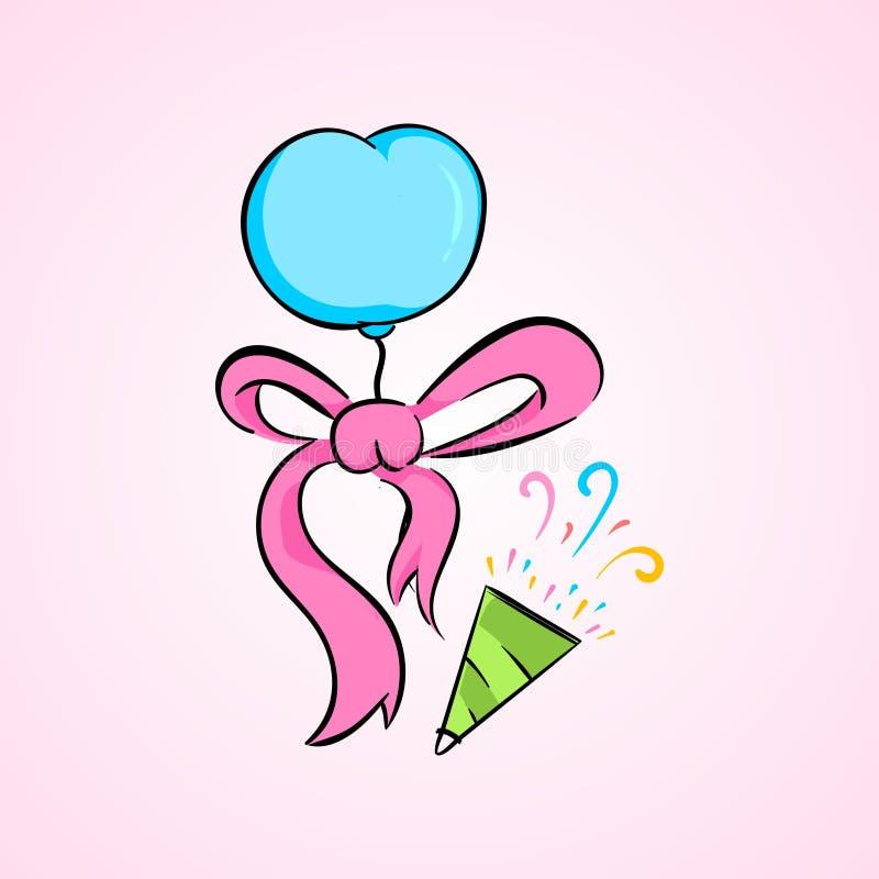 Urodziny prezenta i balonu tasiemkowej kolekci ustalony ilustracyjny wektor ilustracja wektor