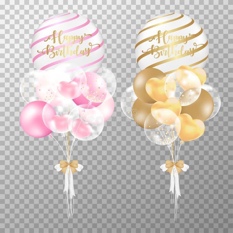 Urodziny szybko się zwiększać na przejrzystym tle Realistyczne menchie i Złota glansowana balonowa wektorowa ilustracja Dla dekor ilustracji