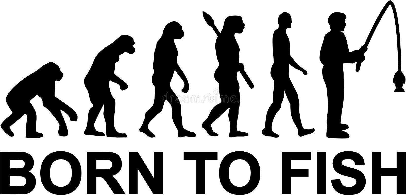 Urodzony łowić ewolucja rybaka ilustracja wektor