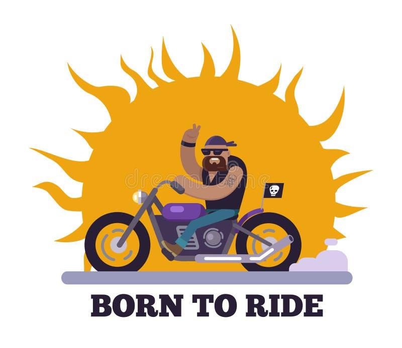 Urodzony Jechać Plakatową motocyklu wektoru ilustrację ilustracji