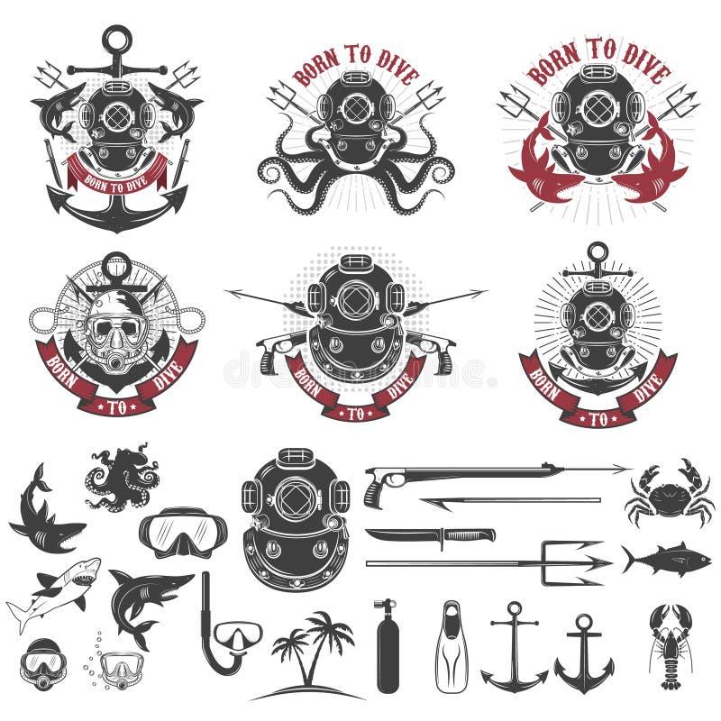 Urodzony nurkować Set rocznika nurka hełmy, nurek etykietki szablon royalty ilustracja