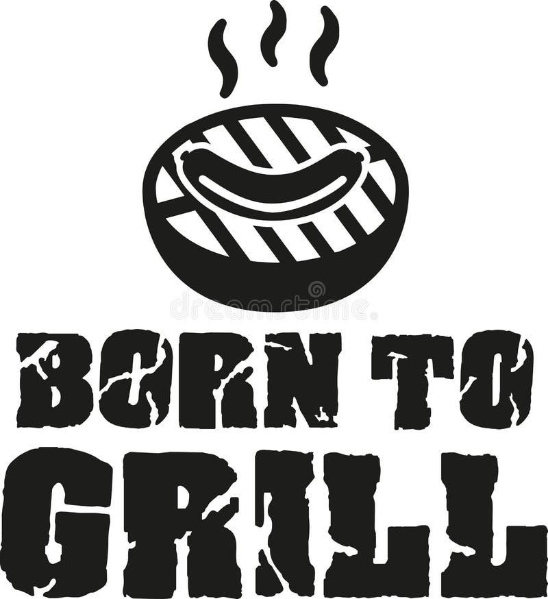 Urodzony piec na grillu - grilla z kiełbasą ilustracji
