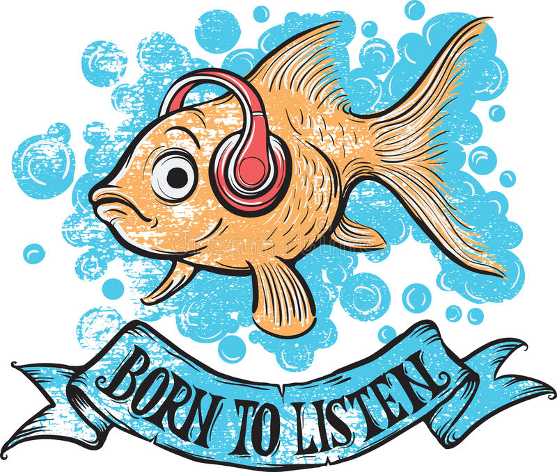 Urodzony słuchać goldfish royalty ilustracja