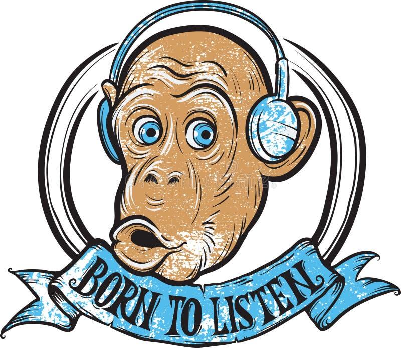 Urodzony słuchać małpy ilustracji