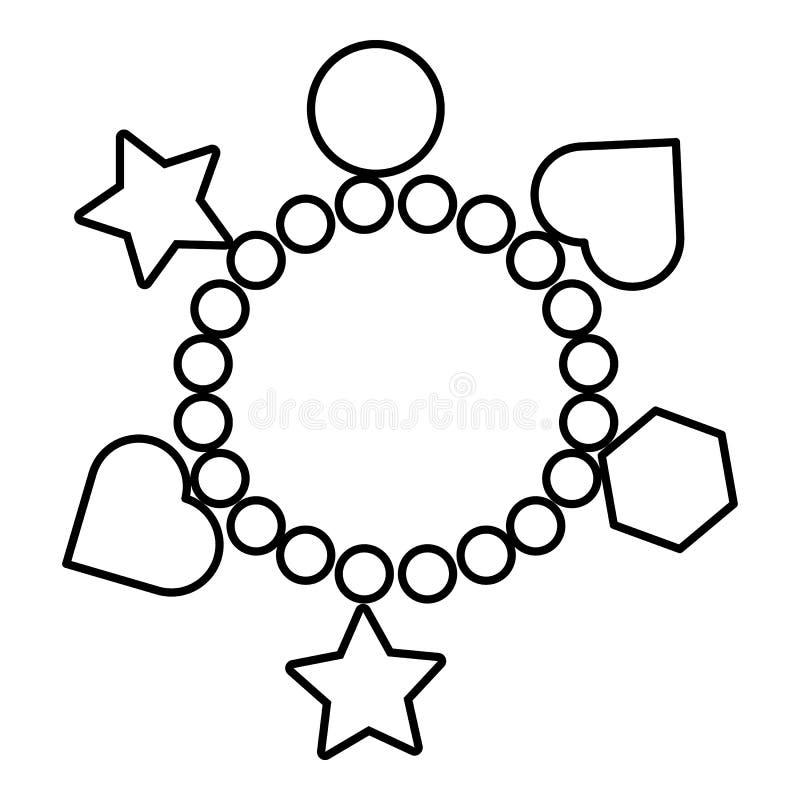 Urok bransoletki ikona, konturu styl royalty ilustracja