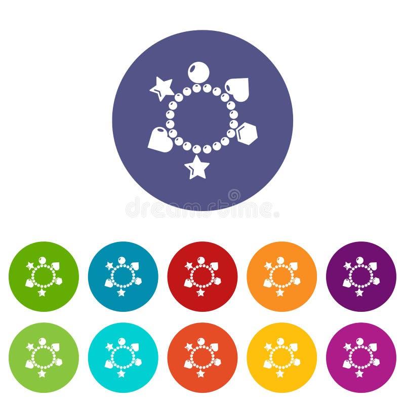 Urok bransoletki ikona ustawiający wektorowy kolor ilustracja wektor