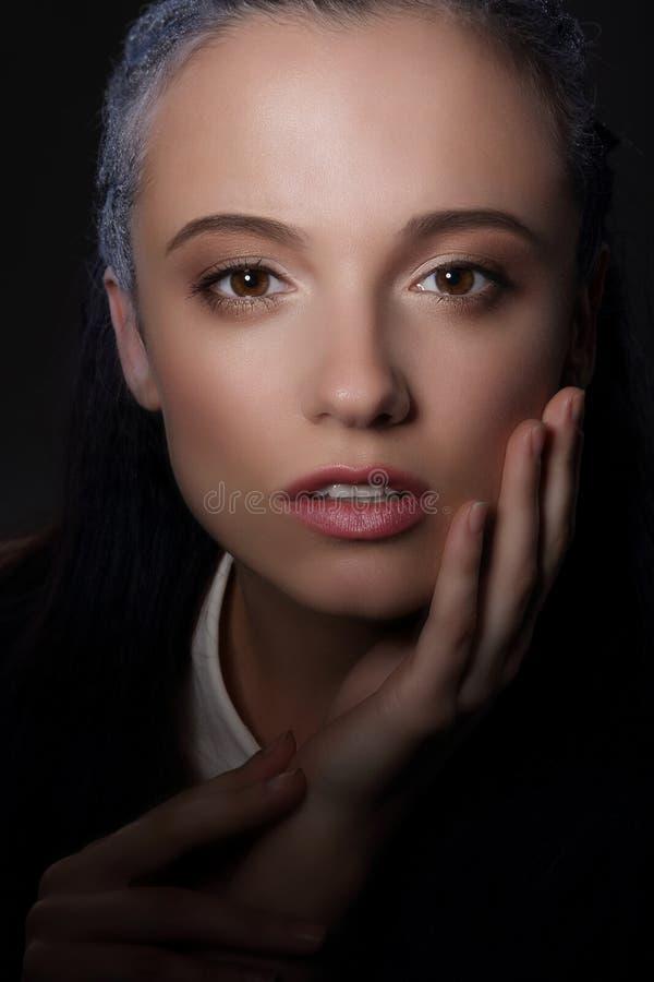 urok charyzma Arystokratyczna kobiety twarz w cieniu obrazy stock